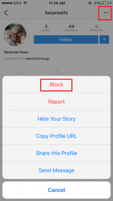 How to block on Instagram